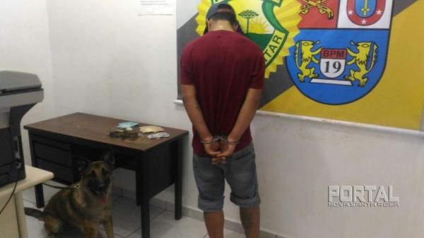 O jovem foi preso por tráfico. (Foto:PM)