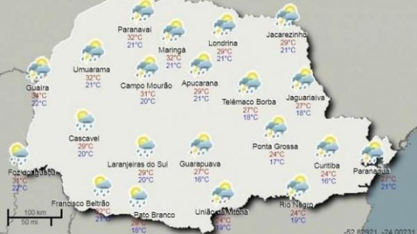 As chuvas da noite de domingo e madrugada de segunda registraram mais de 70 milímetros.(Foto:Simepar)