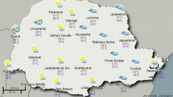 Previsão de chuva apenas em alguns pontos no Noroeste paranaense. (Foto: Simepar)