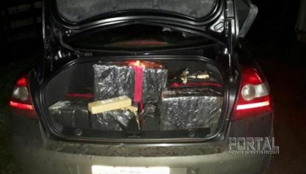 Droga foi localizada dentro de um veículo abandonado às margens da BR 158. (Foto: PM)