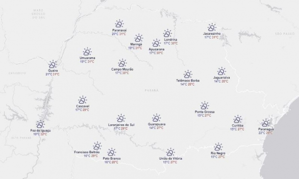 Frente fria no sul do país pode provocar chuvas em regiões do Paraná (Foto: Simepar )