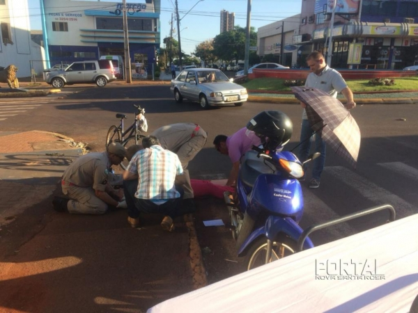 O acidente aconteceu no centro. (Foto: Marechal News)