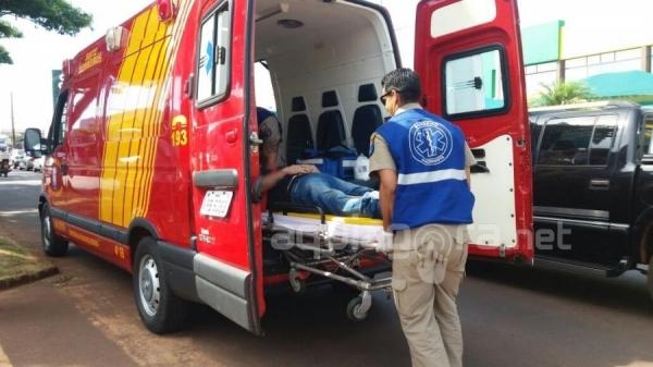 Motociclista fica ferido após acidente em Marechal Rondon (Foto: Fernanda Bourscheidt/AquiAgora.net )