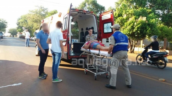 Mulher fica ferida após queda de bicicleta em Marechal Rondon (Foto: Fernanda Bourscheidt/AquiAgora.net )