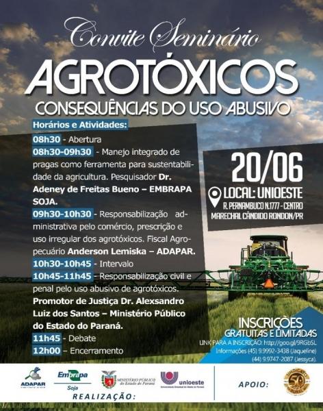 """Seminário """"Agrotóxicos, Consequências do Uso Abusivo"""" (Foto: Divulgação )"""