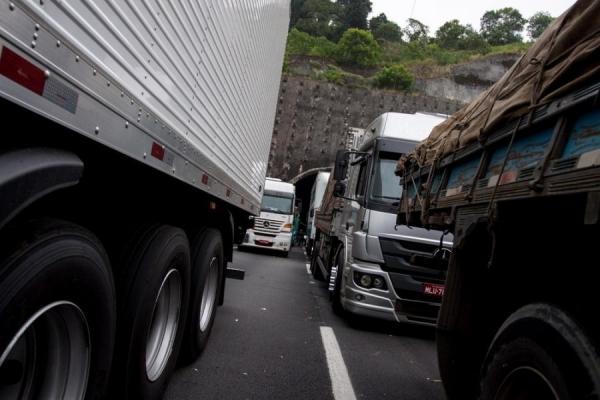 Caminhoneiros estão parados em acostamentos de várias rodovias (Foto: Marcelo Brandt/G1 )