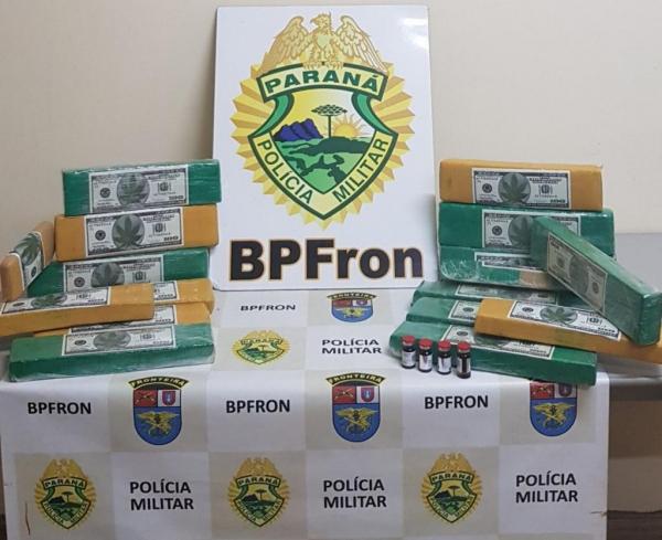 A droga totalizou 14,865 kg. (Foto: BPFRON)