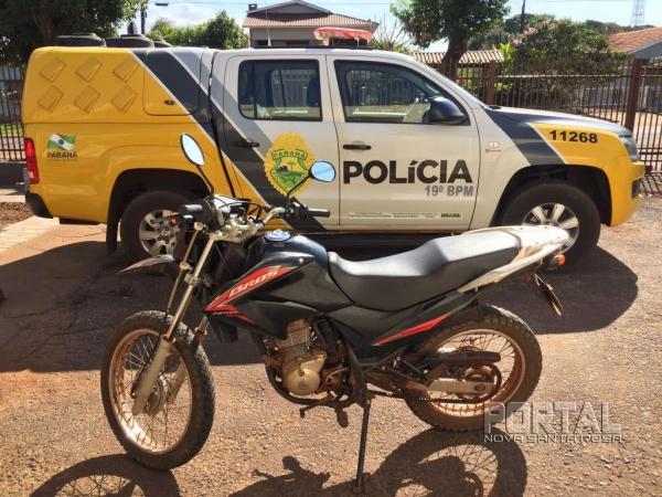 A moto foi recuperada por volta do meio dia de hoje (20). (Foto: Portal Nova Santa Rosa)