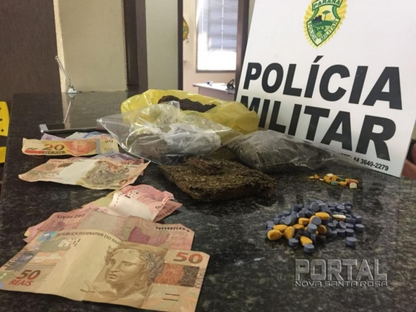 Eles estavam comercializando droga na rodoviária. (Foto:PM)