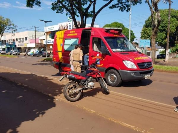 Os ocupantes da moto, de 42 e 14 anos, sofreram queda e ferimentos. (Foto: Portal Rondon)