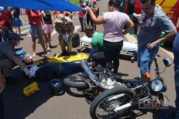 O motociclista foi socorrido em encaminhado ao Bom Jesus. (Fotos: Bogoni/Radar BO/Catve)