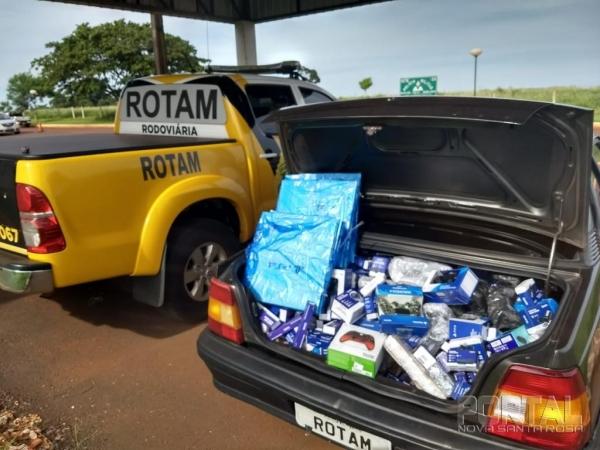 O veículo e a mercadoria foram encaminhados a delegacia da Receita Federal de Guaíra. (Foto: PRE)