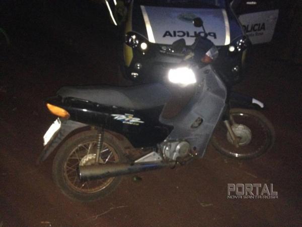 Honda Biz recuperada pela Polícia Militar ( Foto: Portal Nova Santa Rosa)