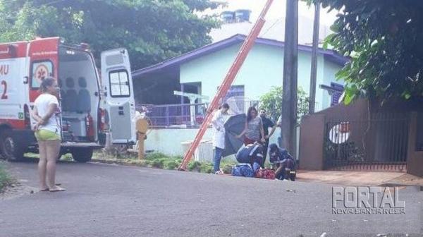 O trabalhador foi socorrido pela equipe do SAMU e encaminhado ao Hospital Municipal. (Foto: Portal Palotina)