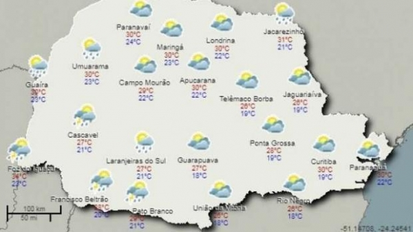 Nas regiões Oeste e Sudoeste do Paraná, as chuvas estão previstas acompanhadas com trovoada. (Foto: Simepar)