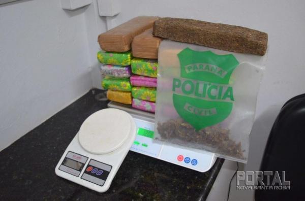 Após pesagem a droga totalizou 12.3 Kg.(Foto: Bogoni)