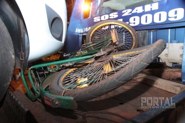 O ciclista trafegava na saída da cidade. (Foto: Portal Nova Santa Rosa)