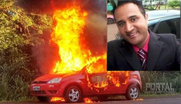 O carro do biólogo foi encontrado em chamas. (Foto: Divulgação)