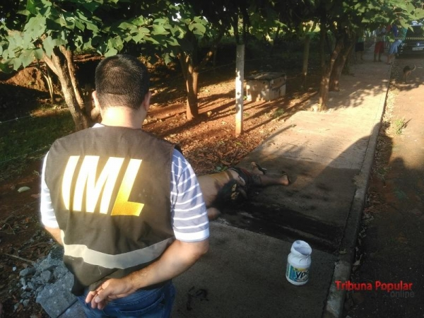 O corpo estava com vários disparos de arma de fogo na cabeça e o corpo encontrava-se pegando fogo.(Fotos: Enrique Alliana)