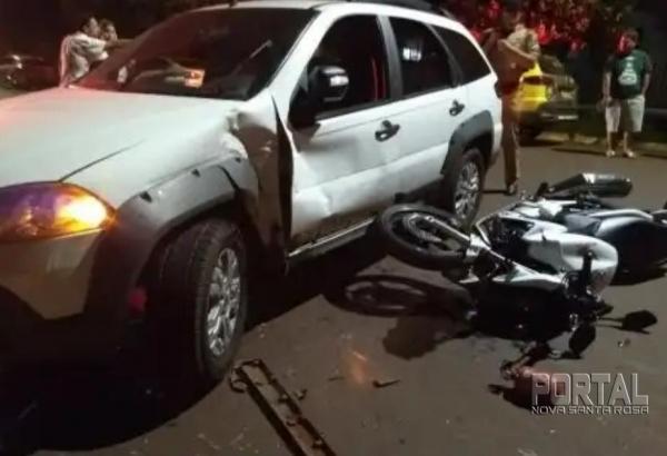 O SAMU socorreu o condutor da moto. (Foto: Colaborador)