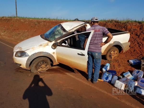 O condutor perdeu o controle da direção. (Foto: Alemão Leiteiro)