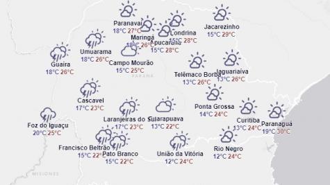 Para Nova Santa Rosa a temperatura máxima é de 26° e a mínima de 18°. (Imagem: Simepar)