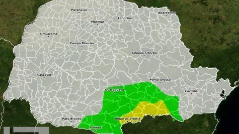 No alerta emitido pelo Simepar ainda não há previsão de geada na região oeste. (Foto: Simepar)