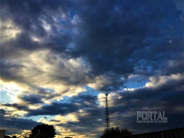 Para Nova Santa Rosa a previsão de chuvas com rajada de ventos de65 km/h. (Foto: Portal Nova Santa Rosa)