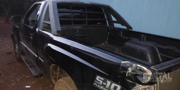 A S10 estava com placas paraguaia. (Foto: PM)