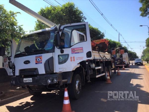 Um poste e um transformador serão substituídos. (Fotos: Portal Nova Santa Rosa)