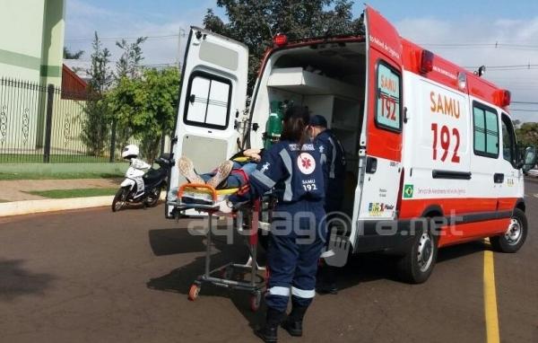 Um acidente de trânsito foi registrado na Rua Dom Pedro, próximo ao cruzamento com a Rua Pernambuco (Foto: Fernanda Bourscheidt/AquiAgora.net )