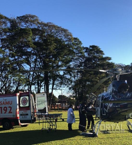 O paciente vítma de infarte foi transferido para Cascavel. (Foto: Portal Palotina)