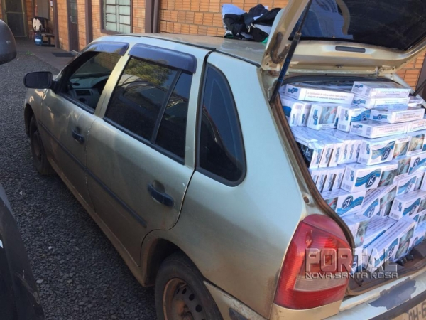 O veículo e o contrabando foram encaminhados para o Batalhão do BPFron. (Fotos: Marcio Cerny)