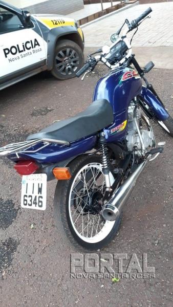 A motocicleta foi apreendida. (Foto: Portal Nova Santa Rosa)