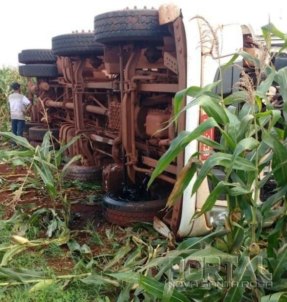 O caminhão foi parar na lavoura de milho. (Foto: Portal Palotina)